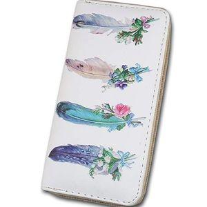 Handbags - Feather Water Color Zip Wallet